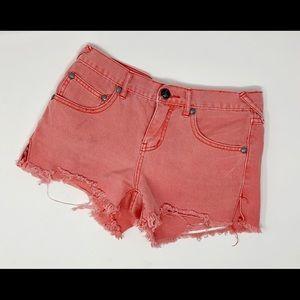 Free People Orange Cut Off Shorts Distressed 24